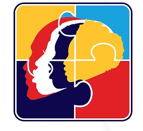 Self Inc. logo, an illustrated profile of three people's heads, with an overlay outline of puzzle pieces