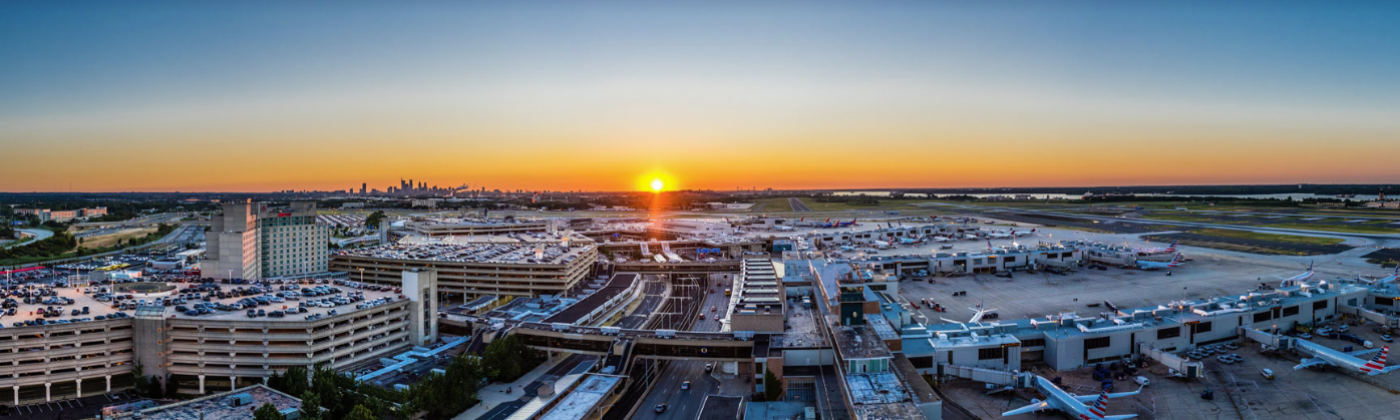 Photograph of the Philadelphia International Airport at sunset