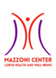 Mazzoni Center logo, which consists of a stylized M and their name and tagline, LGBTQ Health and Well-being